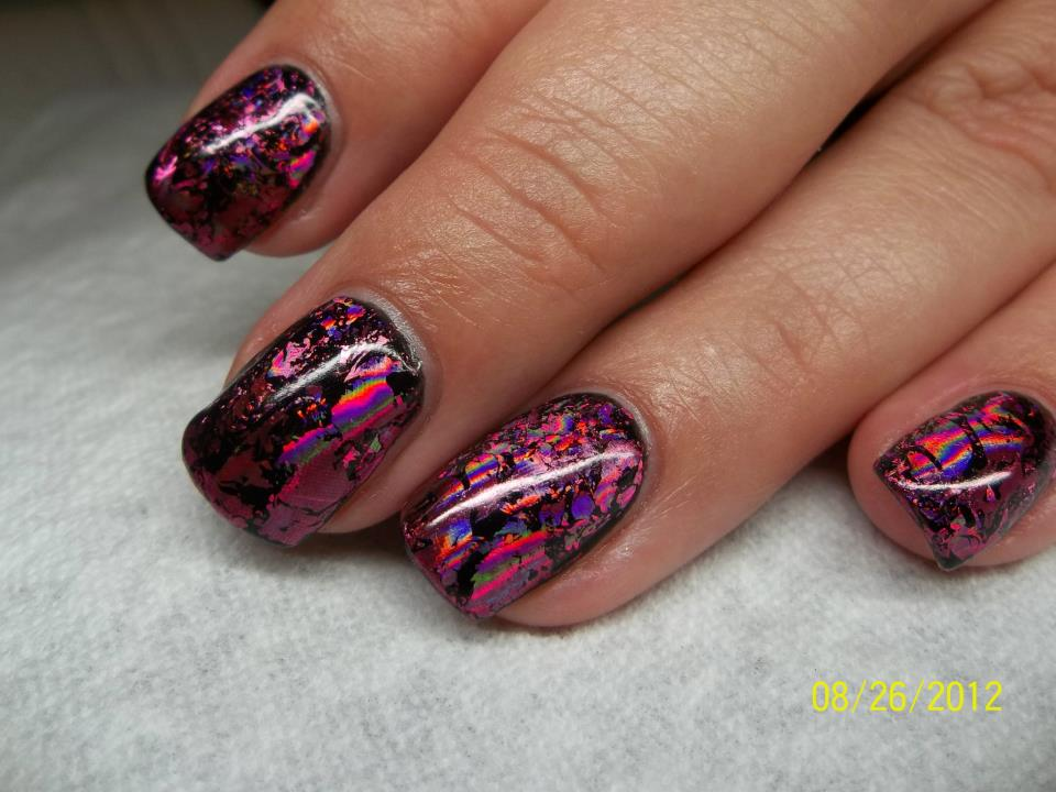 opi gel overlay with black pool shellac gel color and